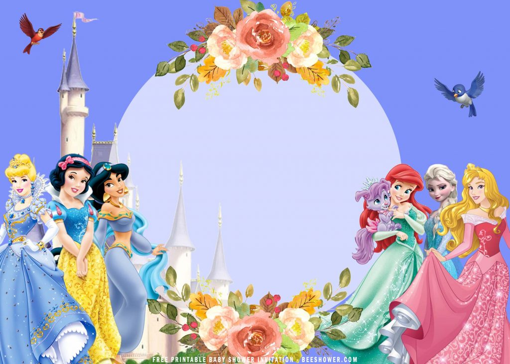 Free Printable Floral Frame Disney Princess Invitation Templates With Gold Roses