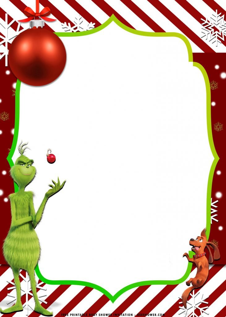 Free Printable Grinch Baby Shower Invitation Templates With Whoville and Gold Frame Design