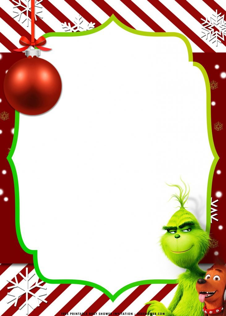 Free Printable Grinch Baby Shower Invitation Templates With Snowflakes and Confetti