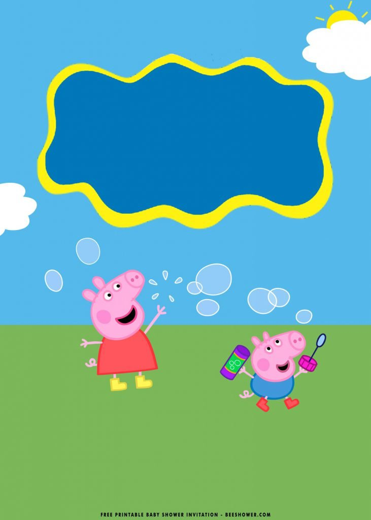 Free Printable Peppa Pig Baby Shower Invitation Templates With Bubbles Photo Frame and Cute Pig