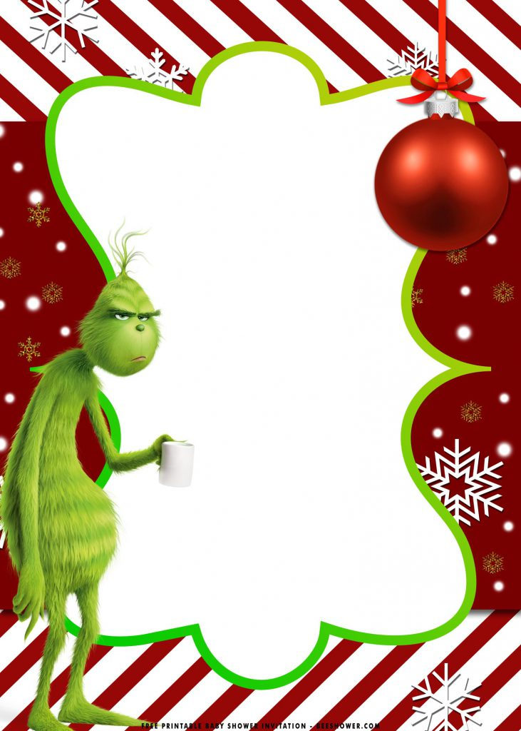 Free Printable Grinch Baby Shower Invitation Templates With Space For Party Details