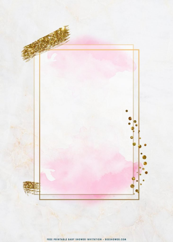 Free Printable Gold Frame On Pink Baby Shower Invitation Templates With Rectangle Text Box