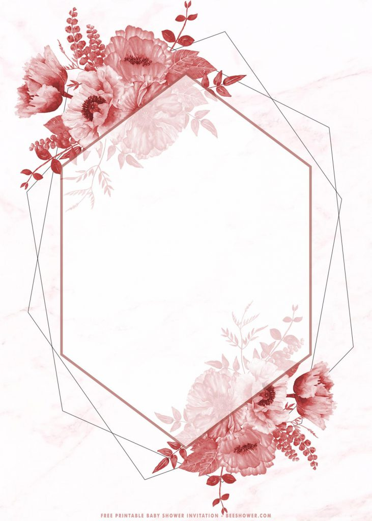 Free Printable Pink Floral Bridal Shower Invitation Templates With Marble Texture and Magnificent Roses