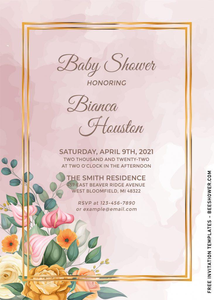 8+ Elegant Set of Watercolor Spring Flowers Themed Birthday Invitation Templates